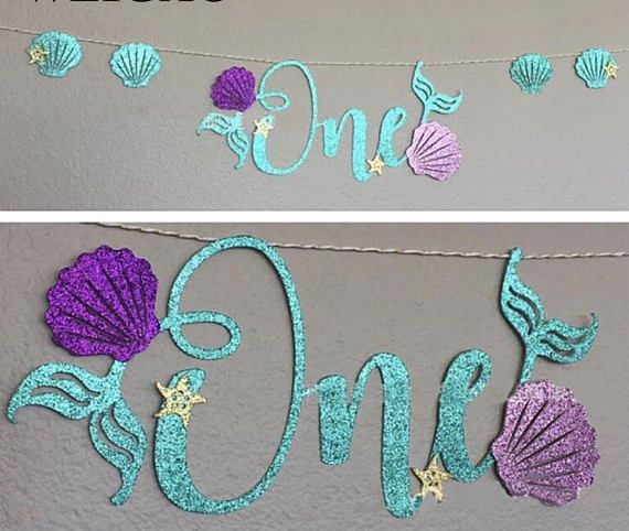 mermaid party banner/mermaid first birthday party/one/mermaid party decor/mermaid party supplies/under the sea theme/birthday sign/decorations This banner is perfect decoration for a First Birthday Party! Big perk-no assembly required! The entire banner includes one wonderful