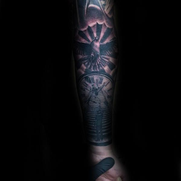 Guys Clock With Dove And Heaven Stairs Forearm Tattoo Sleeve Design