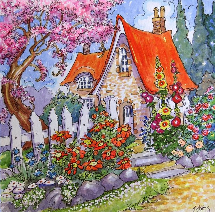 """""""Almost Hidden By Spring Storybook Cottage Series"""" original fine art by Alida Akers"""