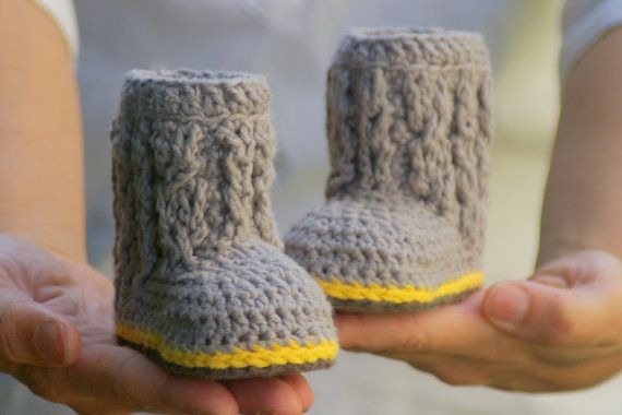 crochet baby patterns | Baby Cable Boots with Easy Cables | Two