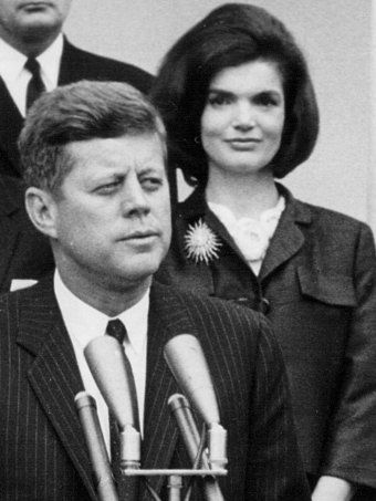 1963 - I've noticed the brooch that Jackie is wearing in this photo in several others photos. It's a beauty.