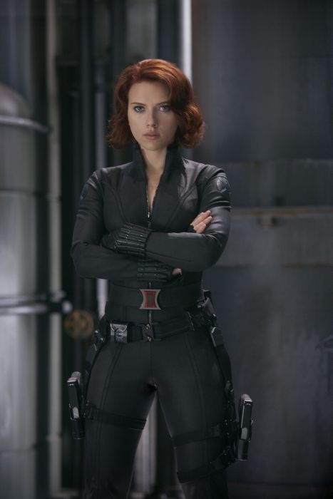 Scarlett Johanssen as Black Widow. What's not to like? Okay, I am maybe being influenced by Women Being Awesome. But! It is doing that full coverage but sexy look because fitted. And she has a signature belt buckle, which is pretty neat. Also, I just like weaponry. And that pseudo-military look.