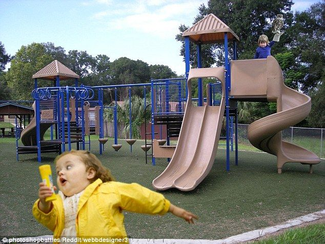Ruler of the Playground: The result of a mash up of two memes - with the picture of a little girl running away