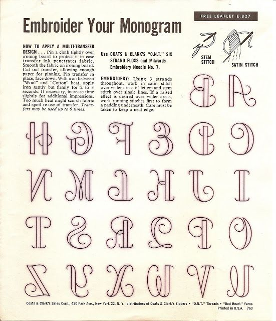 Embroidered Alphabet Letters Sew Your Monogram Note The Backwards Letters Here39s Why