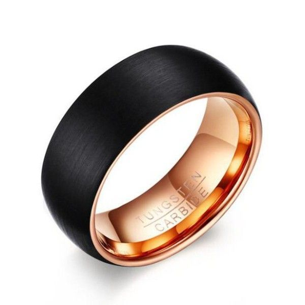 Tungsten Rose Gold Black Mens Ring Gold Rose Tungsten