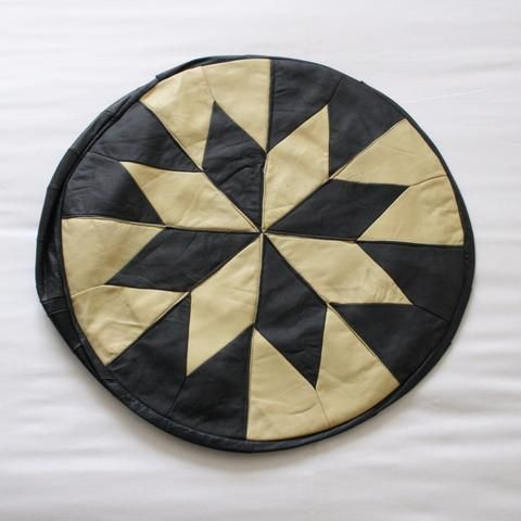 Yellow & Black Patchwork Leather Pouffe