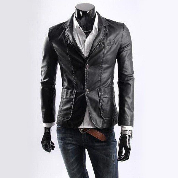 Handsome Slim Lapel Collar PU Leather Coat Jacket Apparel/79549 via AmaSell. Click on the image to see more!