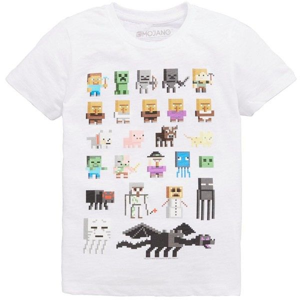 Minecraft Sprites T-Shirt (€11) ❤ liked on Polyvore featuring tops, t-shirts, minecraft t shirt, white t shirt, minecraft, white top and white tee