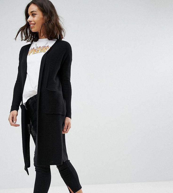 Noisy May Petite Long Knit Cardigan - Black