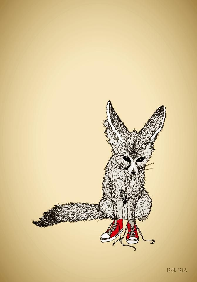 Foxes just look cooler with red sneakers on.