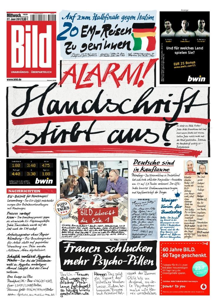 Periódico alemán Bild publica su portada escrita totalmente a mano para denunciar inminente muerte de la caligrafía. vía @palomayeh