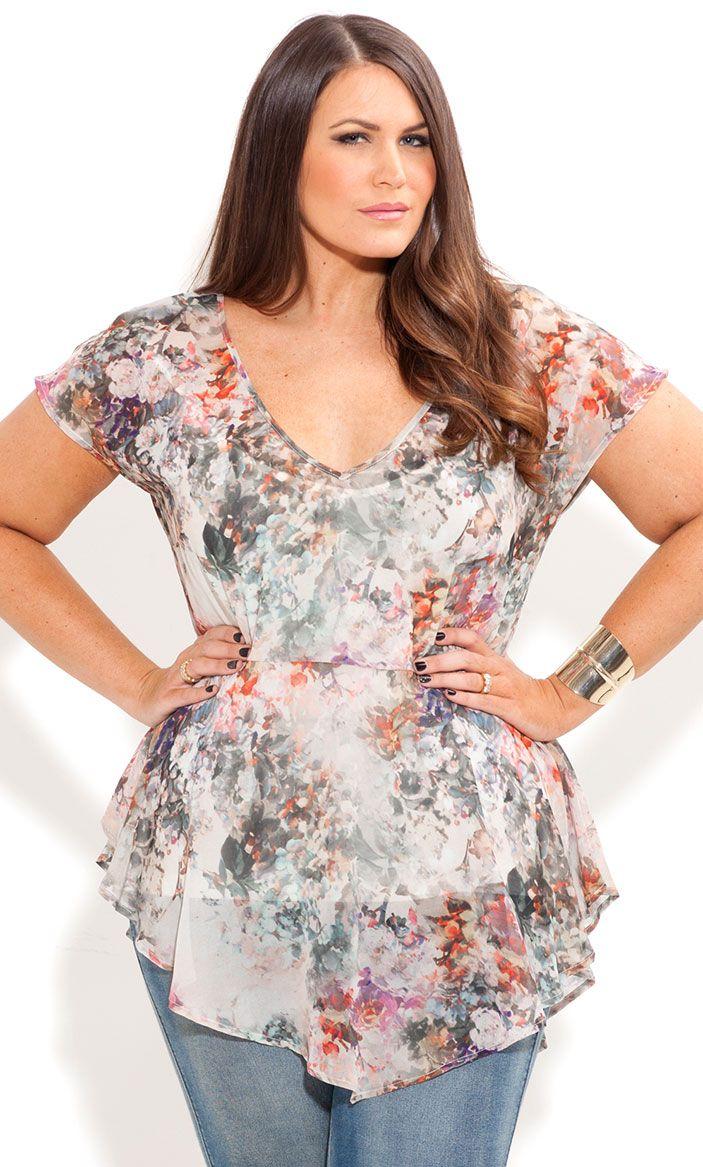 City Chic - WHISPER FLORAL TOP - Women's plus size fashion