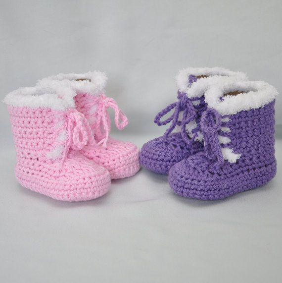 Cotton Baby Booties Fur trimmed Baby by threekittensknitting, $18.00