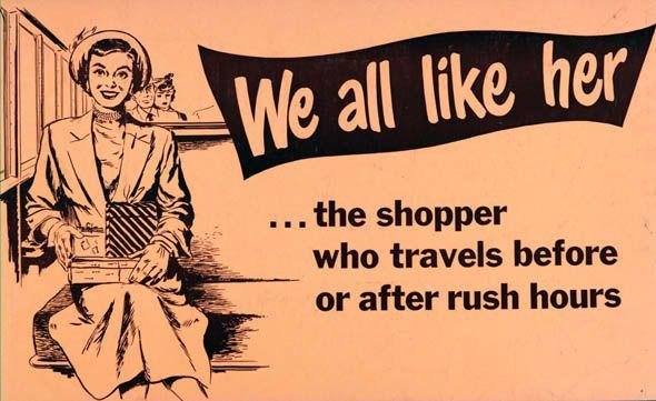 ttc subway cards advertisements woman shopper rush hour
