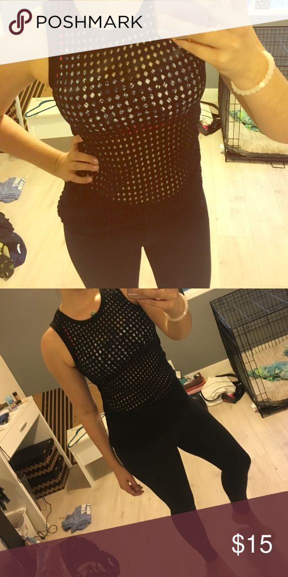 Lorna Jane High Neck Cut Out Top Diamond cut outs through entire top. Great fit. High neck. Lorna Jane Tops Muscle Tees