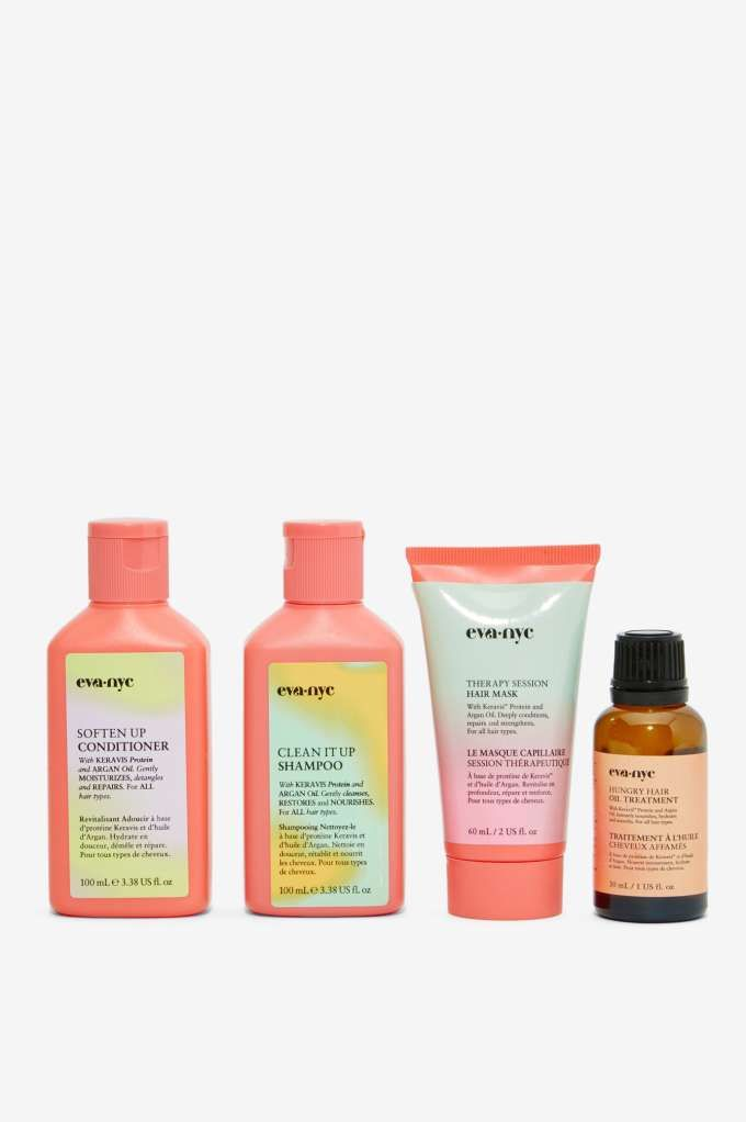 Ombré labels and spring break color sway.   Eva NYC Get Up and Go Hair Care Travel Kit