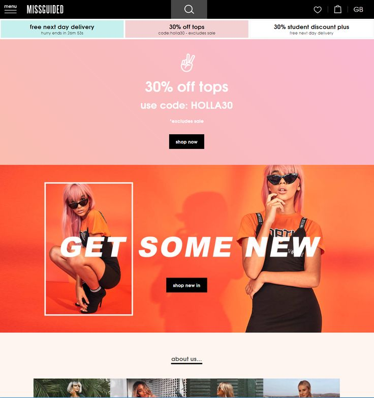 Coupon code on Missguided website home page #Web #Digital #Online #HomePage #Fashion #Coupon #Offer #Discount #Code
