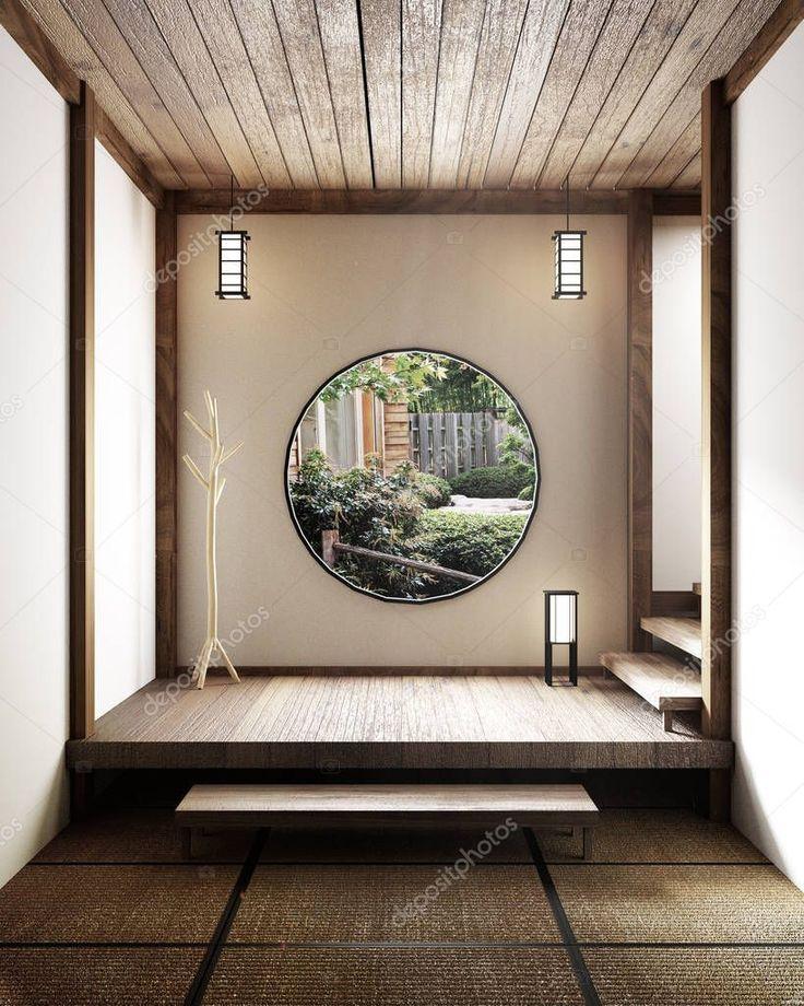 Room minimal design with Tatami mat floor and Japanese