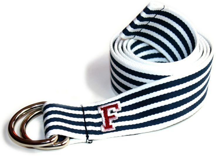 Flatkicks, D-Ring belt, stripes, varsity F, patch www.flatkicks.com