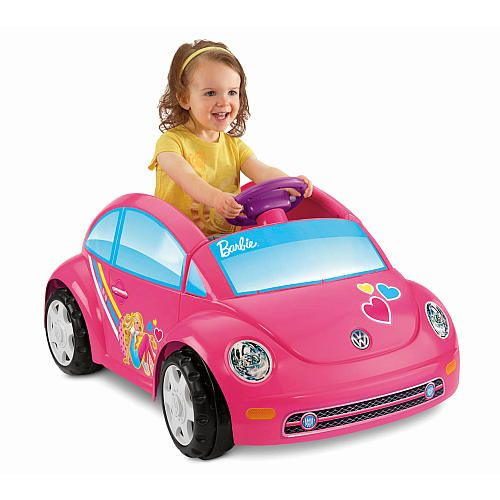 Power wheels fisher price volkswagen beetle ride on for Motorized barbie convertible car