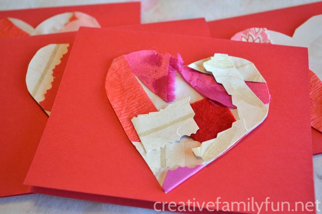 Creative Family Fun: Collage Heart Valentines