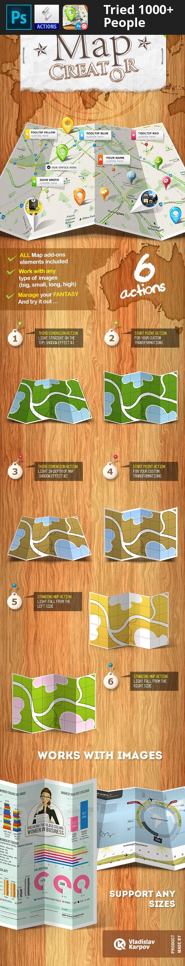 """action, continent, folded, info graphic, infographic, kvo, map, map creator, map elements, mock up, pin, point, tool tip, tooltip Updated: Mar 22, 2017 """"Map Creator – Action"""" has been updated to work correctly with CC2015.5 & CC2017  Watch VIDEO if don't know how to work with action?     Main archive includes:  Included 6 actions Included ASL file Included 2 ATN files Instructions included"""