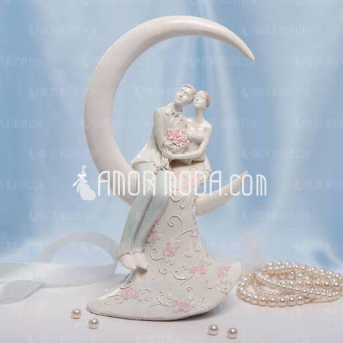 Romantisk øyeblikk Harpiks Bryllup Kake Topper (119030550)