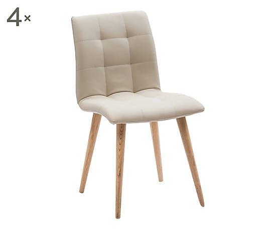 Set di 4 sedie in legno ed ecopelle Finland sabbia - 46x84x61 cm