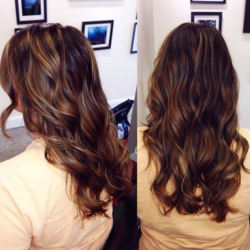 dark brown hair with caramel brown highlights - lighter than other looks but still like the natural look