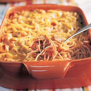 Cheesy Chicken Spaghetti.  I like to use crushed tomatoes instead of chopping stewed tomatoes to make more of a sauce.