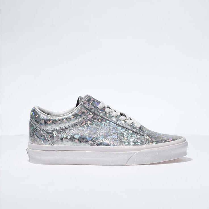 womens silver vans old skool hologram trainers | schuh