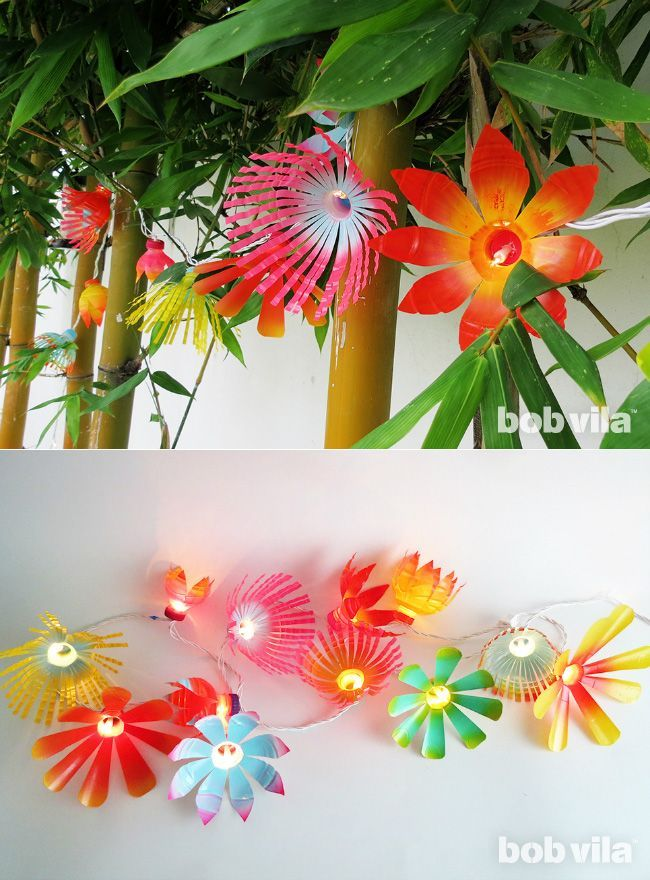 DIY flower fairy lights (made from recycled plastic bottles!) - super fun for the garden!