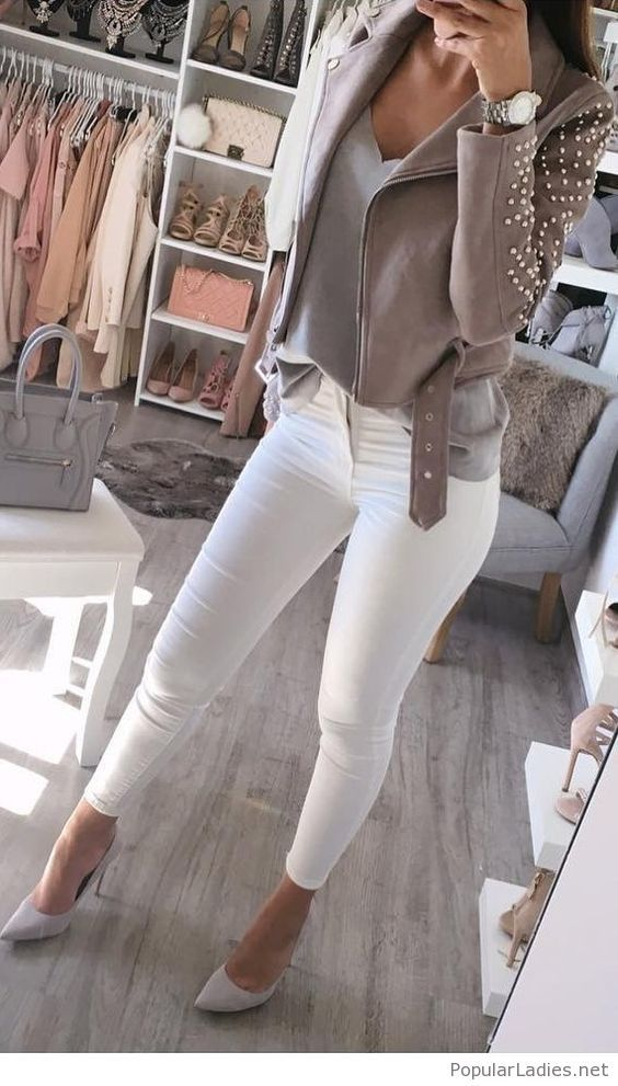 White pants, grey tee and a jacket