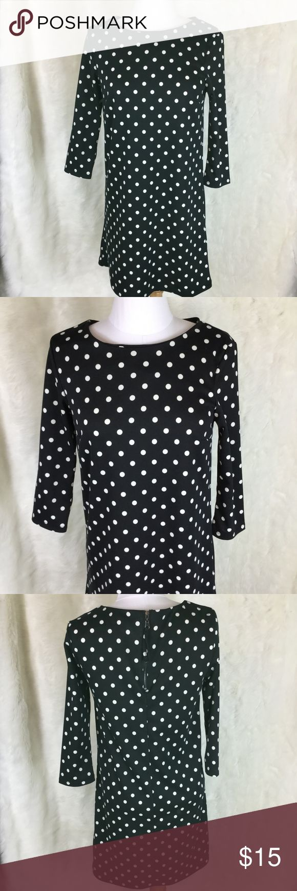 H&M Shift Dress NWT Size XS and in perfect NWT condition!  Black with cream polka dots!  Wonderful for work or a night out!  Knee length with 3/4 length sleeves.  Exposed zipper in the back! H&M Dresses Mini