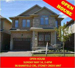 Mother's Day OPEN HOUSE Sun. May 14, 2-4pm. 96 Backfield Crs. Stoney Creek