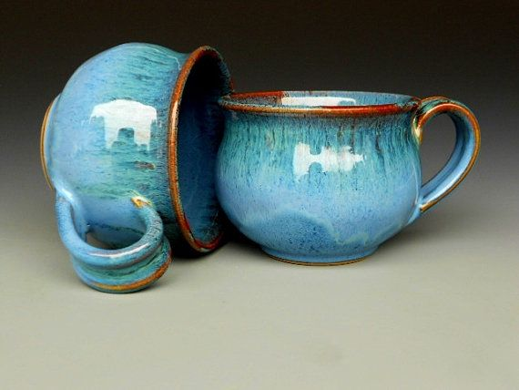 Yep, I love pottery most especially when it's hand made...I want these!    Cappuccino Mug Blue Ceramic Coffee Mug by darshanpottery on Etsy, $20.00  http://www.etsy.com/listing/98976340/cappuccino-mug-blue-ceramic-coffee-mug?ref=fp_recently_viewed_3