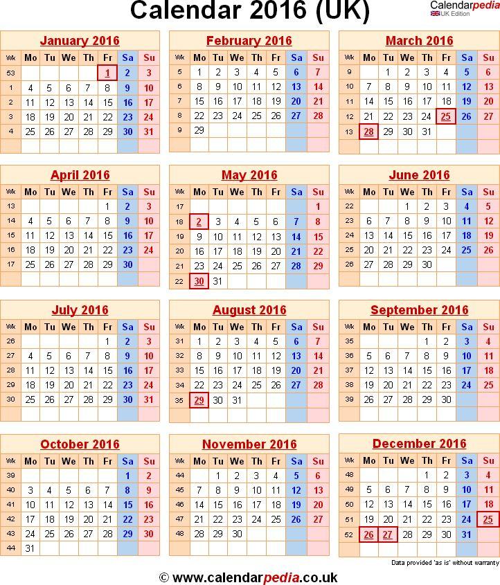 2016 Calendar Printable Uk