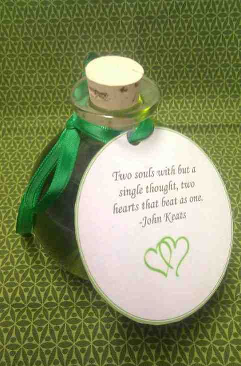 Massage Oil, with romantic quote for Valentines Day Gift ...