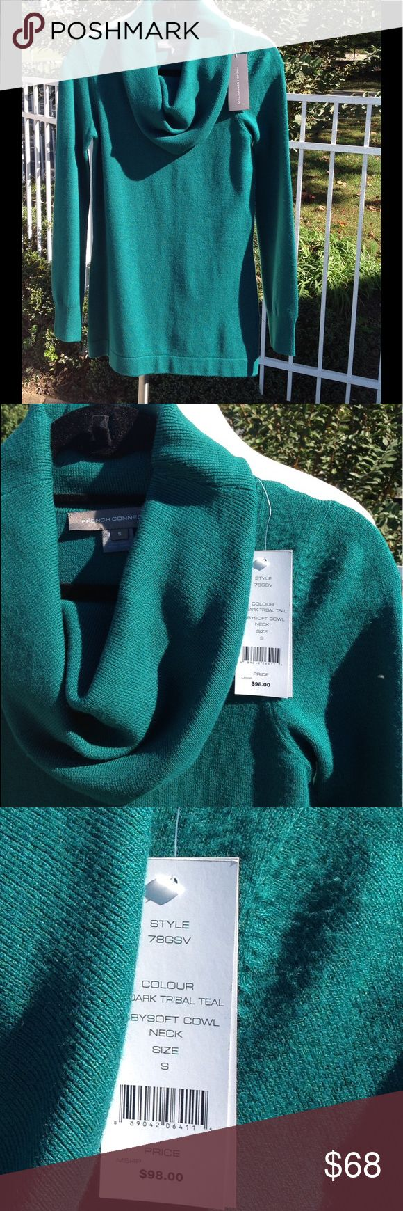 NWT FRENCH CONNECTION SWEATER This sweater is the softest. It would look great with jeans or leggings. It is a beautiful teal color. It's beautiful on. LOVE IT 😍 French Connection Sweaters Cowl & Turtlenecks