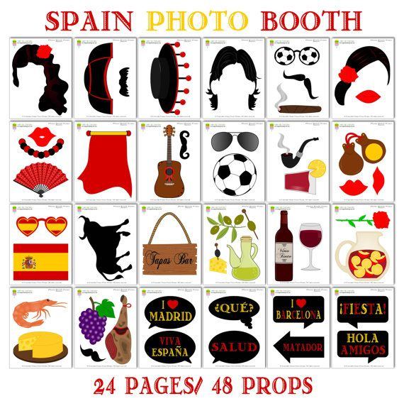 PRINTABLE Spain Photo Booth PropsPhoto Booth Sign-Spanish