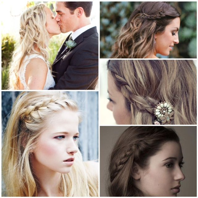 side part braid braided bangs _ The perfect #wedding hairstyle to avoid fly-aways + the dreaded piece of hair caught in your lip gloss. http://ow.ly/c27N6 #braids #boho