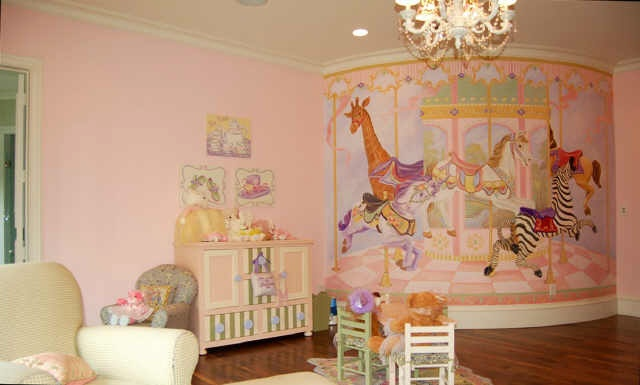 Pink room with a carousel mural babies pinterest for Carousel wall mural