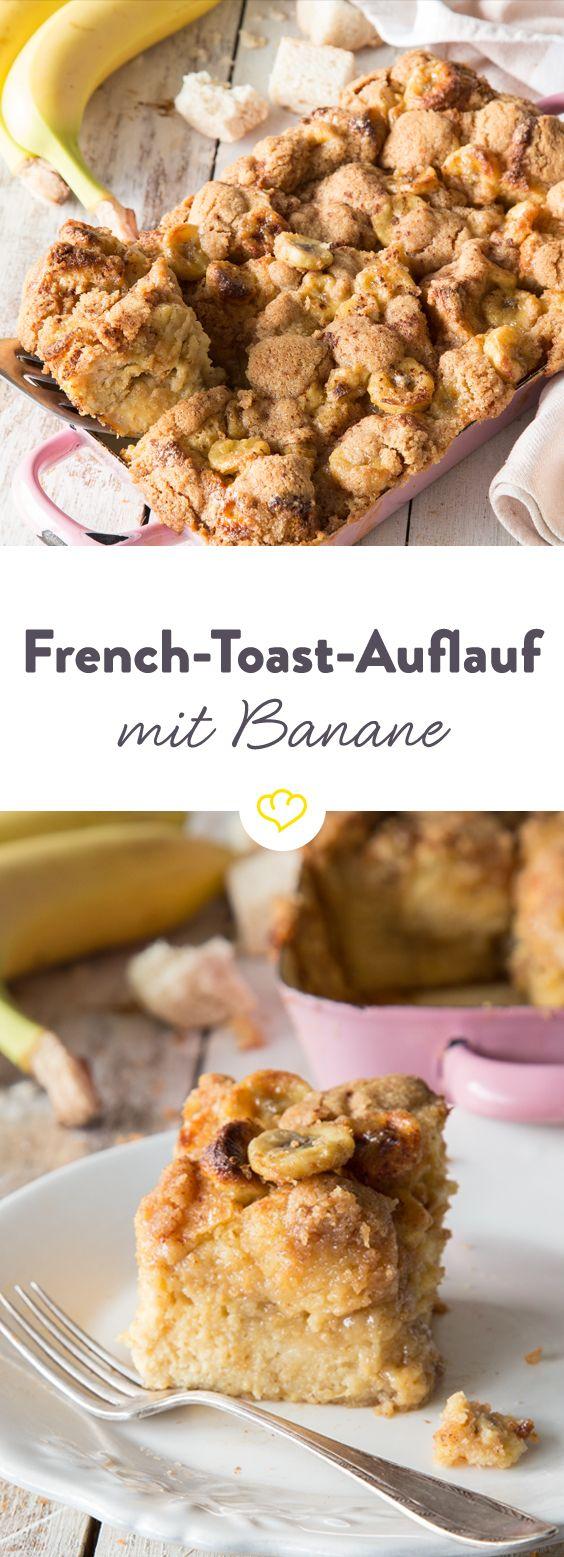 Karamell-Bananen verstecken sich unter einer süß-salzigen Kruste aus Zimt-Bröseln, zwischen saftigem Weißbrot. Das badet genüsslich in cremiger Eier-Milch.