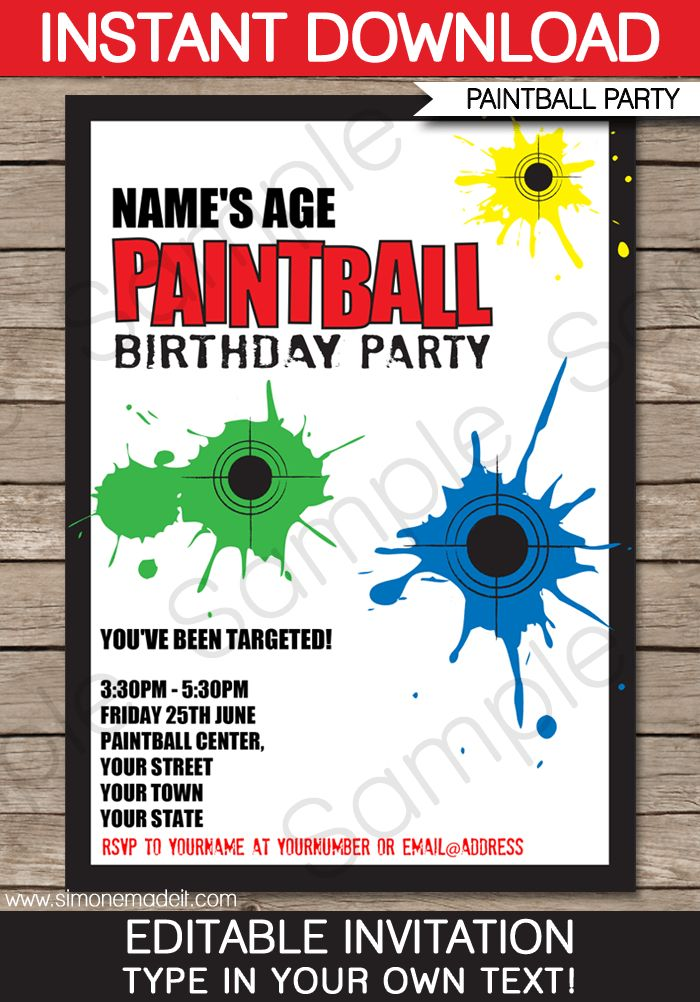 Paintball Party Invitations | Birthday Party | Template