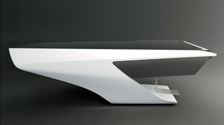 The aerodynamic lines of the piano from Peugeot Design Labs and Pleyel