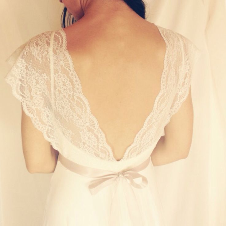 Sale romantic wedding dress with lace top and chiffon for Backless wedding dresses for sale