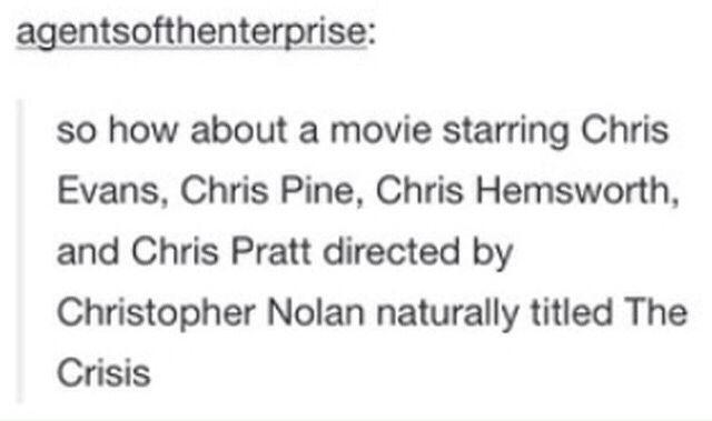 Christopher Nolan; Chris Evans; Chris Pratt; Chris Pine; Chris Hemsworth; The Crisis