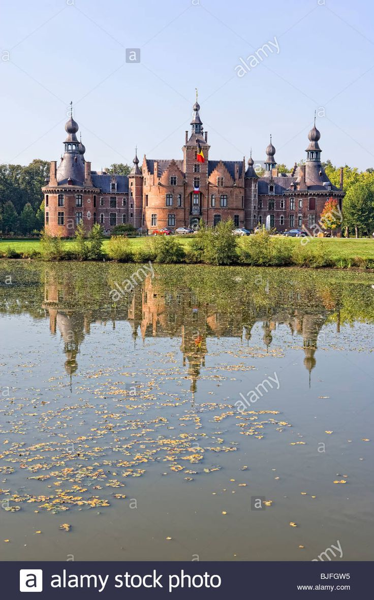 Ooidonk Castle, a moated castle on the Lys River, Deinze, Bachte Maria Leerne, near Ghent, Belgium, Europe Stock Photo