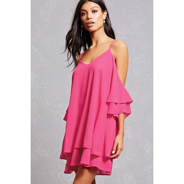 Forever21 Crepe Open-Shoulder Dress ($35) ❤ liked on Polyvore featuring dresses, fuchsia, fuchsia pink dress, flared sleeve dress, fuschia dress, long-sleeve mini dress and forever 21 dresses
