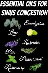 Essential Oils for Sinus Congestion. Essential oils are great for clearing out excess mucus and congestion, especially in the sinus area. If there is a lot of sinus pressure that's creating a respiratory issue, headaches, and general stuffiness, eucalyptus, lavender, pine, and lime are the essential oils for you.  #aromatherapy